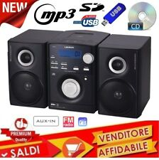 IMPIANTO STEREO HI FI CD MP3 RADIO FM USB SD AUX-IN  2 CASSE DISPLAY NERO 2018