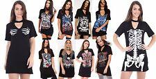 Womens King of The Road Ride Till We Die Printed Choker Neck T-Shirt Mini Dress