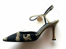 Manolo Blahnik Black Olive Green Print Canvas Ankle Strap Pump 5 Point Toe Camo