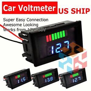 12V-60V Car Marine Motorcycle LED Digital Voltmeter Voltage Meter Battery Gauge