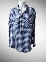 Merona Women's XXL Blue Plaid Half Button Long Sleeve Tunic Shirt-2AF
