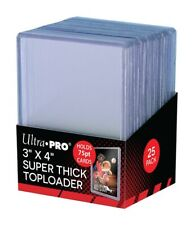 25 Pack-81347 Ultra PRO 75 Pt Top Loaders Rigid Clear-Toploaders-Thick Cards