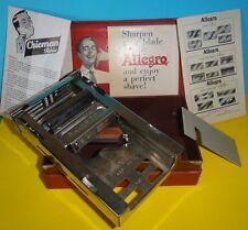 VTG AD SHAVING ALLEGRO SWISS METAL  RAZOR BLADE SHARPENER + CASE EXC. CONDITION