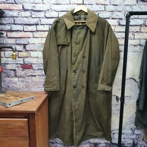 VTG 1994 Barbour Trench Coat 3 Crest Green Country Wax Waxed Jacket Coat 46