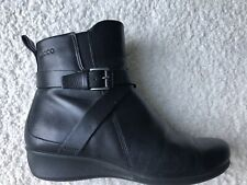 Ecco Abelone Leather Strappy Buckle Ankle Boots
