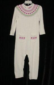EUC Janie & Jack Girls Ivory Pink Green Lambs Wool Blend Sweater Romper 18-24 M