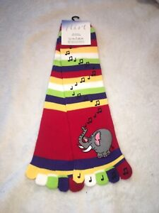 1 Pair Toe Socks Stripey Striped Elephant Music Motif Rainbow Fun And Warm