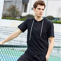 Mens Hooded Basic Muscle T-shirt Short Sleeve Shirts Hoodie Slim Fit Casual Tops