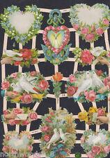 FLORAL HEART LOVE WEDDING PAPER  DOVE SCRAP EF GERMAN