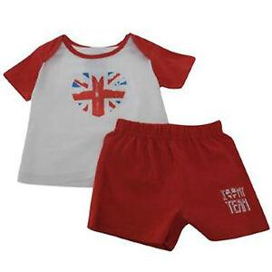 BABY T-SHIRT & SHORTS SET 0-24 MONTHS ENGLAND FOOTBALL TOP UNION JACK TEAM GB