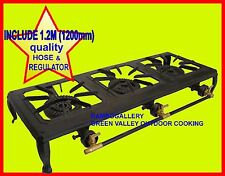 NEW3 BURNER CAST IRON COUNTRY COOKER WITH 1.2M HOSE&REGULATOR LPG GAS STOVE BBQ