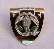 MAGNIFICENT FRENCH RETRO DIAMOND, EMERALD, PLATINUM, GOLD CLIP