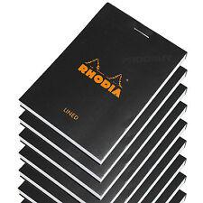 Set De 10 Rhodia Negro Bolsillo A7 Forrado Bloc de notas Memo Libro Jotter lista almohadillas Mini