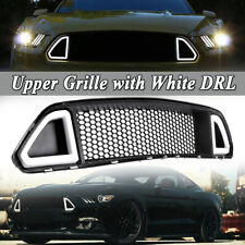 For 2015-2017 Ford Mustang ABS Black Front Upper Grille Hood W/ DRL LED Lights