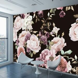 Hand Painted Black White Rose Peony Flower Custom 3D Photo Painting Wall Paper
