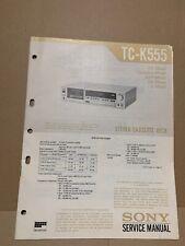 Sony TC-K555 Stereo Cassette Tape Deck Manual de servicio original del fabricante