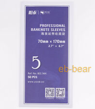 Lot 500 Pcs Currency Banknote Sleeves Holder Paper Money Soft Bag 70mm*170mm