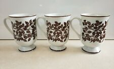Set of 3 Vintage Holt Howard Pedestal Coffee Mugs White w/ Brown Leaves EUC