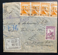 1946 Portuguese Angola Bank Airmail Cover To Luanda Tax Percue Label