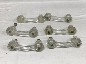Set Of 6 Antique Glass Cabinet Dresser Pulls Drawer Handles
