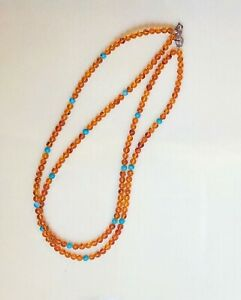Vintage Italian Amber & Turquoise 2-Strand Necklace DJR.925 Silver Clasp/Tag