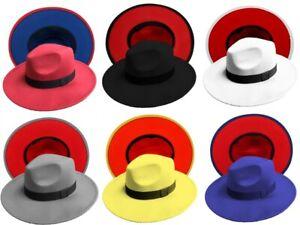 Fedora Men Women Felt Vintage Style Wide Brim Panama Upturn 2 Tone Cotton Blend