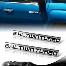 2PCS METAL TRUNK BUMPER EMBLEM DECAL FENDER BADGE BLACK 6.4L 6.4 L TWIN TURBO