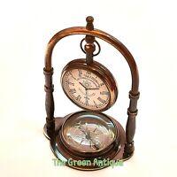 Vintage Style Antique Brass Desk Clock Quartz Desktop Decorative Gift