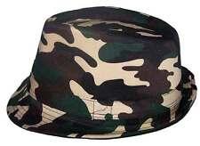 Fedora Trilby Men's Hats Military Green Camo   Uni-Sex Style  ( EFedHat82*)