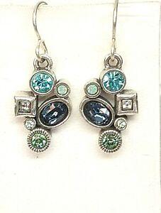 $97 Patricia Locke Silver Plate Mini Earrings Zephyr Swarovski Crystals NWOT
