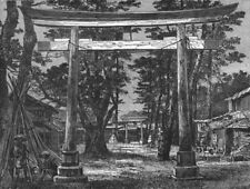 JAPAN. Tori, or Holy Gate-Ave of temple, Benten 1880 old antique print picture