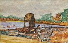 Künstlerische Malerei von 1950-1999 auf Papier Acryl