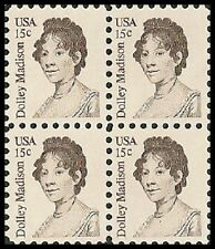 US 1822 Dolley Madison 15c block MNH 1980