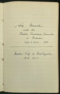 WWI 1916 British Ambulance Committee Driver's Diary & 1921 Battlefields Tour