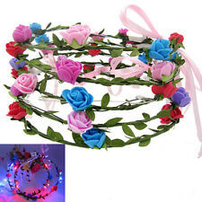Girls Boho LED Flashing Floral Flower Hairband Headband Light-Up Wedding GS