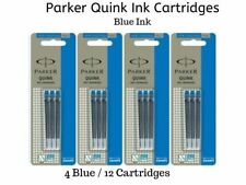 12 x Parker Quink Ink Cartridges For All Parker Fountain Pens, 4 Pack of Blue