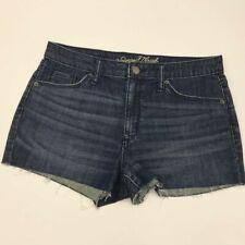 Universal Thread High Rise Short Jean Shorts Raw Hems Size 8 29R Dark Blue