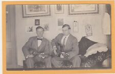 Real Photo Postcard RPPC - Two Men with Mandolin and Guitar Music Musician