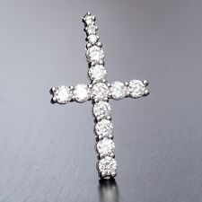 Small Cz Hip Hop Cross Pendant Necklace Mens Women Mini Iced White Gold Plated