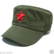 Vintage Army Cadet Military Cap Men Women Adjustable Red Star Cotton Hat Green