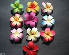 Set of 10 Hawaiian Plumeria Foam Flower Hair Clips Pointed Petal Tips Bridal