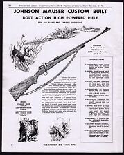 1950 JOHNSON MAUSER Bolt-Action Rifle Hunting AD