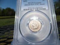 1859 Indian Head Cent (UNC)  Detail -PCGS - Altered Surface .