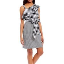 Calvin Klein Flounce Dress Womens Size 8 Gingham Plaid One Shoulder Bow New NWT