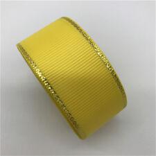 "5yds 1"" 25mm Gold Metallic Edge Grosgrain Ribbon Wedding Christmas Decoration"