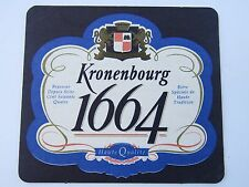 Beer COASTER ~*~ Brasseur KRONENBOURG 1664 ~*~ Best Loved Premium Beer in FRANCE