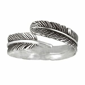 Silverly .925 Sterling Silver Oxidised Feather Plume Adjustable Wrap Ring