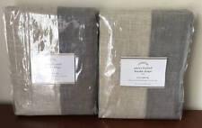 Pottery Barn Emery Frame Border Linen Drape Curtain (set of 2)~50x84~Flax / Gray