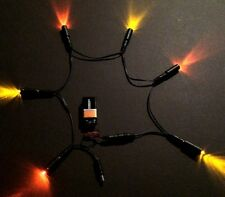 6 LED Effects Lights Daisy Chain 3 Sunset Amber 3 Pure Orange w/ 9 volt clip MEL
