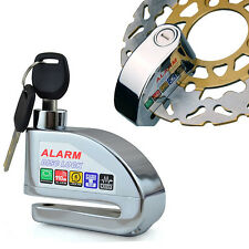New Brand Silver Security Motorcycle Scooter Wheel Disc Brake Siren Alarm Lock